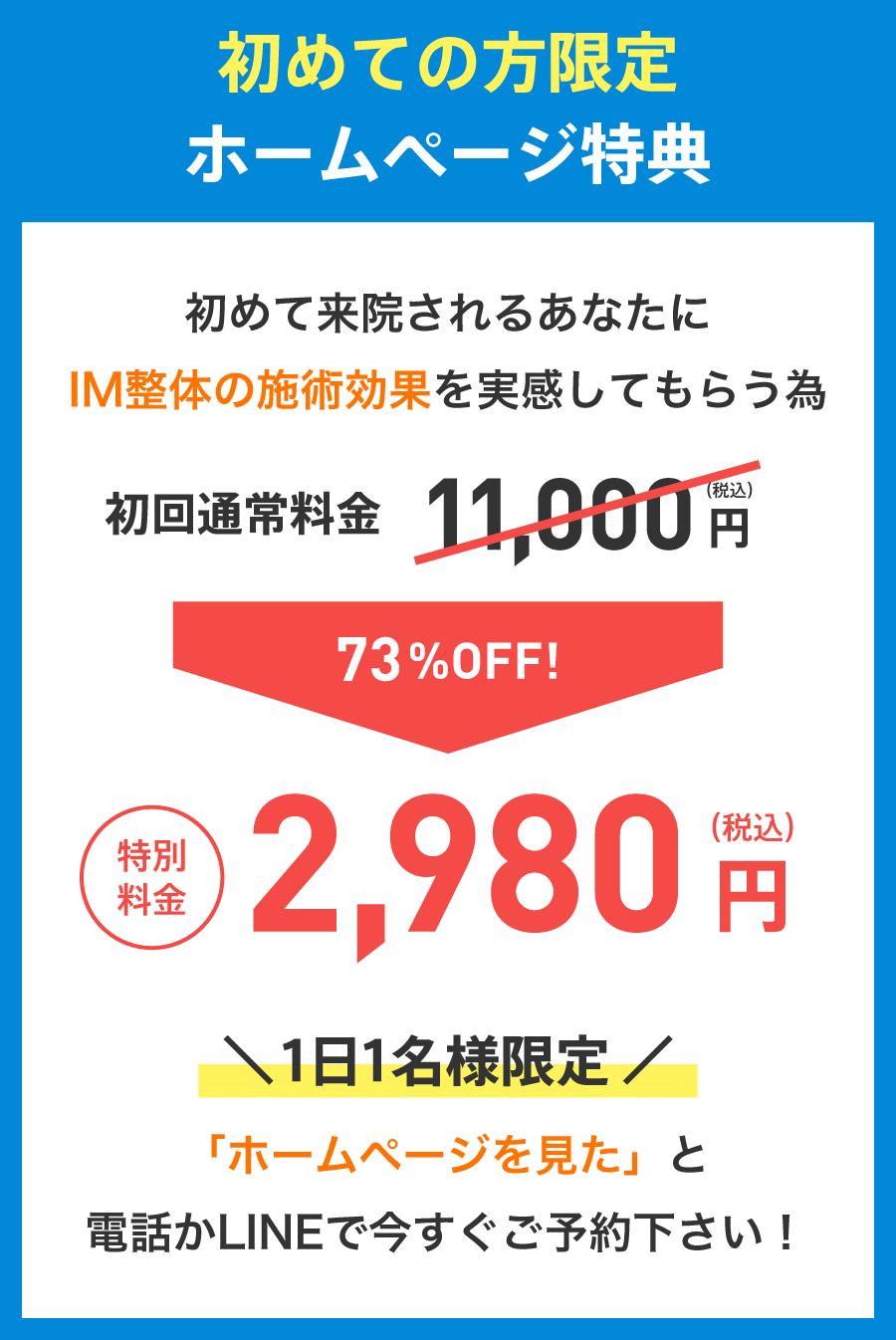 初めての方限定ホームページ特典/73%OFF!/特別料金:2,980円(税込)